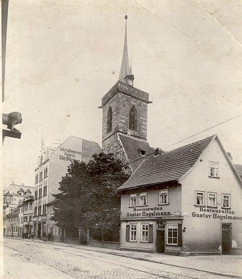 Löberstraße mit alter Thomaskirche um 1895