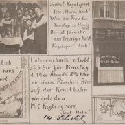 Einladungs-Postkarte zum Kegeln bei Franz Mehlhose